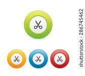 colorful round scissors icons