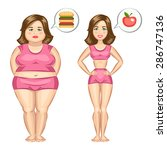 Fat And Slim Girl. Vector...