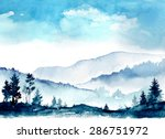 watercolor mountains | Shutterstock .eps vector #286751972