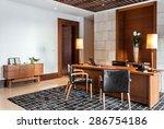 retro office room interior with ... | Shutterstock . vector #286754186