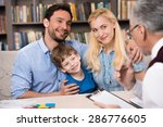 happy family of three talking... | Shutterstock . vector #286776605
