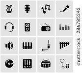 vector black music icon set