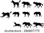 vector set silhouettes of... | Shutterstock .eps vector #286807775