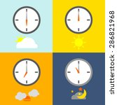time table clocks show 4 times... | Shutterstock .eps vector #286821968