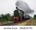 old steam locomotive travels by ... | Shutterstock . vector #286826792