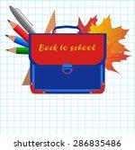 set school bag  pencils  pen ... | Shutterstock .eps vector #286835486