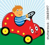 cartoon boy playing in a red... | Shutterstock .eps vector #28685497