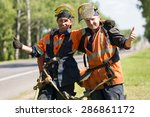 Happy Road Landscapers Workers...