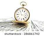 antique gold watch on a stack... | Shutterstock . vector #286861742