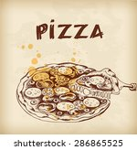 vintage hand drawn pizza with... | Shutterstock .eps vector #286865525