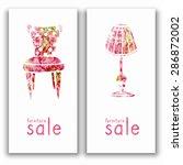 furniture sale watercolor... | Shutterstock .eps vector #286872002
