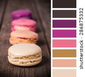 french macaroons on an old wood ... | Shutterstock . vector #286875332