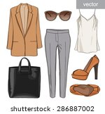 lady fashion set of summer... | Shutterstock .eps vector #286887002
