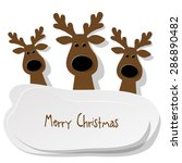Three Christmas Reindeer Brown...