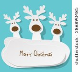 Three Christmas Reindeer White...