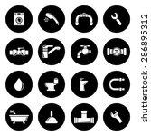 vector white plumbing icons set | Shutterstock .eps vector #286895312