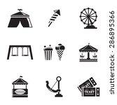 vector black amusement park... | Shutterstock .eps vector #286895366