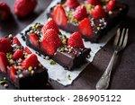 chocolate strawberry tarte | Shutterstock . vector #286905122