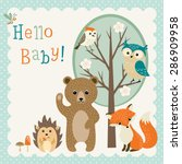 Stock vector baby shower design with cute woodland animals 286909958