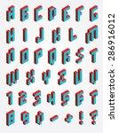 fonts pixel isometric | Shutterstock .eps vector #286916012