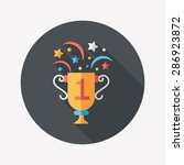 trophy cup flat icon with long... | Shutterstock . vector #286923872