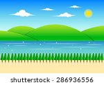 forest  mountain and river... | Shutterstock .eps vector #286936556