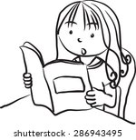girl reading book | Shutterstock .eps vector #286943495