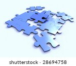 blue puzzle isolated on white | Shutterstock . vector #28694758