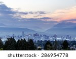 vancouver skyline at dusk as... | Shutterstock . vector #286954778