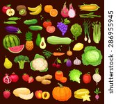 vegetables and fruits big icons ... | Shutterstock .eps vector #286955945
