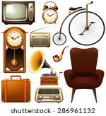 retro products in brown color... | Shutterstock .eps vector #286961132