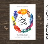 wedding invitation card with... | Shutterstock .eps vector #286963172
