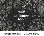 summer food chalk board frame.... | Shutterstock .eps vector #286965842