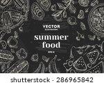 summer food chalk board frame.... | Shutterstock .eps vector #286965842