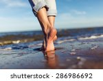 Feet Of Woman  In The Sea Waves ...