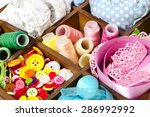 wooden box with accessories for ... | Shutterstock . vector #286992992