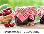 jars of jam and basket with...   Shutterstock . vector #286993082