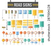 flat road signs set. traffic... | Shutterstock .eps vector #287004128