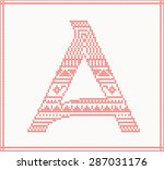 red knitted letter a with... | Shutterstock .eps vector #287031176