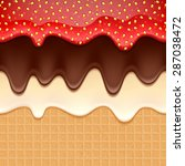 wafer and flowing chocolate... | Shutterstock .eps vector #287038472