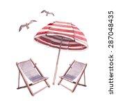 Watercolor Beach Lounge Set....