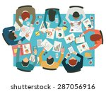 diverse businesspeople working  ... | Shutterstock .eps vector #287056916