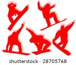 snowboarders silhouette in... | Shutterstock . vector #28705768