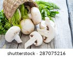 Mushrooms In Basket  Rustic...