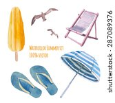 Watercolor Beach Vacation Set....