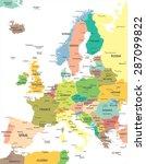 europe   map   illustration | Shutterstock .eps vector #287099822