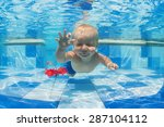 smiling baby boy diving... | Shutterstock . vector #287104112