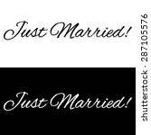 just married banner on a black... | Shutterstock .eps vector #287105576