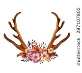 watercolor antler with flowers  ... | Shutterstock . vector #287107802