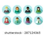 flat avatar set of multiracial... | Shutterstock .eps vector #287124365